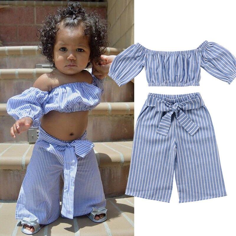 От 1 до 6 лет Комплекты одежды для девочек с открытыми плечами футболки Повседневное полосой бантом Брюки для девочек наряды