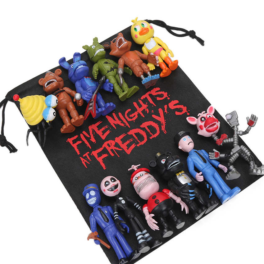 Pack of 13pcs FNAF PVC Action Figures with Gift Bag 10-11.5cm Five Nights At Freddy's Freddy Fazbear Foxy Dolls Toys brinqudoes