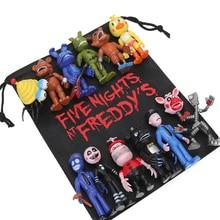 Pacote de 13 peças fnaf pvc figuras de ação com saco 10 11.5cm cinco noites no freddy fazbear foxy bonecas brinquedos brinkdoes