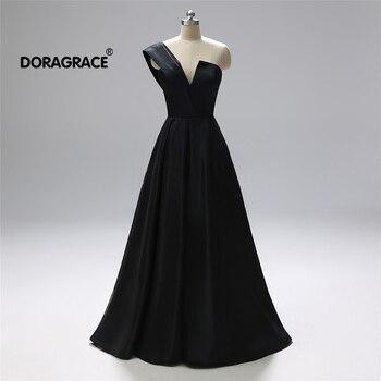 Doragrace New Arrival V Neck One Shoulder A Line Black Silk Satin Prom Gowns Long Evening Dresses Plus Size