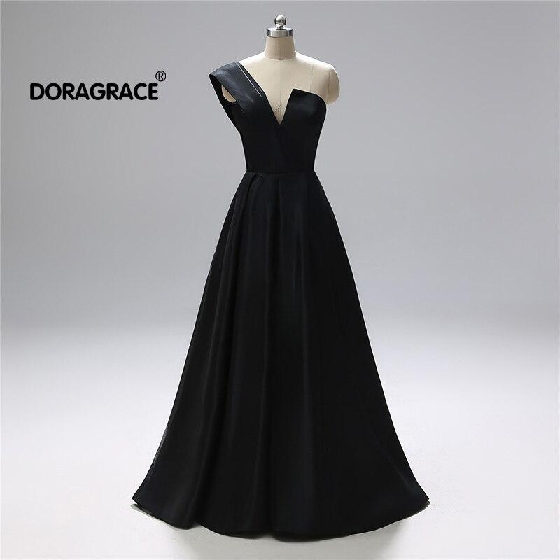 Doragrace nouveauté col en V une épaule une ligne noir soie Satin robes de bal longue robes de grande taille de soirée