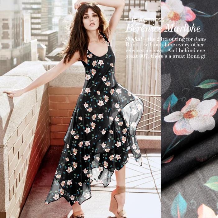 135 cm de large 8mm floral mince noir en mousseline de soie tissu pour été longue et courte robe blouse chemise D697