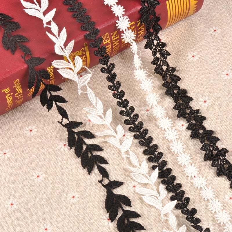 1yard Blatt/schneeflocke/gras muster Handgemachte Spitze Trim Patchwork Weiß/schwarz Band DIY Kleid Nähen Zubehör CP2178