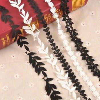 1 ярд лист/снежинка/трава узор ручной работы кружевная отделка пэчворк белая/черная лента для самодельного украшения одежды Швейные аксесс...