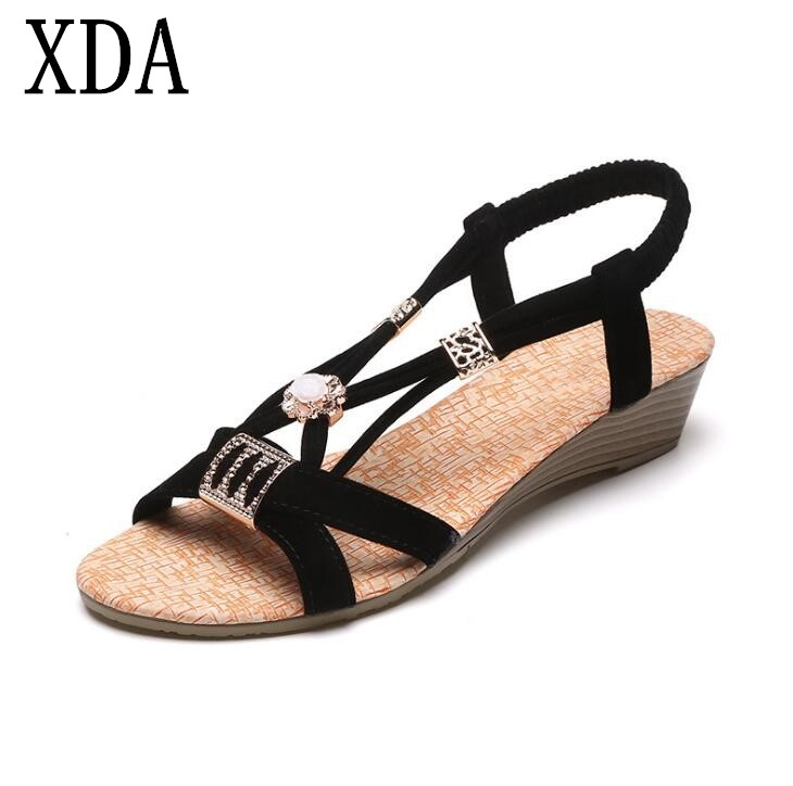 XDA 2018 new Hot Sale Sandals Women Wedges Shoes Bohemia Beaded Leisure Lady Sandals Peep-Toe Sandals Summer Casual Shoes F168 2018 summer new arrived strap design wedges women sandals peep toe comfort mid heel sexy lady sandal fashion student casual shoe