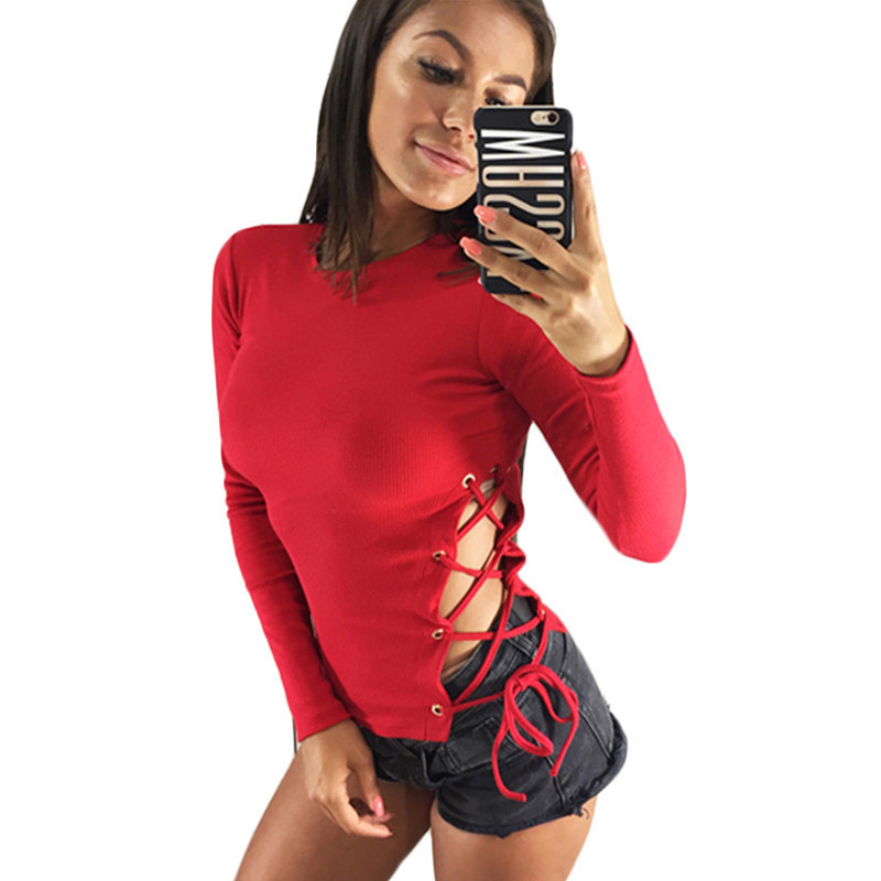 New Lace Up Solid Knit Sweater Women Sexy 2019 Slim Bandage Pullover Long Sleeve Ladies Party Sweater Jumper Top Pull Femme