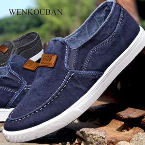 Image 2 - Summer Canvas Shoes Men Sneakers Casual Flats Slip On Loafers Moccasins Male Shoes Adult Denim Breathable Gray Zapatos Hombre