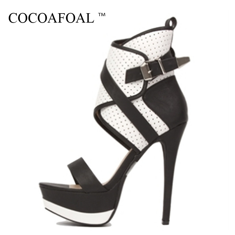 COCOAFOAL Women Summer Open Toe Heels Sandals 16 CM Plus Size 43 44 45 Party Wedding Sandals Black White Sexy Peep Toe Pumps gladiator womens size 11 heels sheepskin sandals large size 33 cm 43 cm summer black green sandy cross tied woman pumps sexy