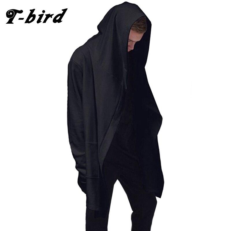 T-bird мужские черные плащ хип-хоп толстовки с длинным рукавом Уличная Повседневное толстовки с капюшоном Свободный пуловер хлопковая верхня...