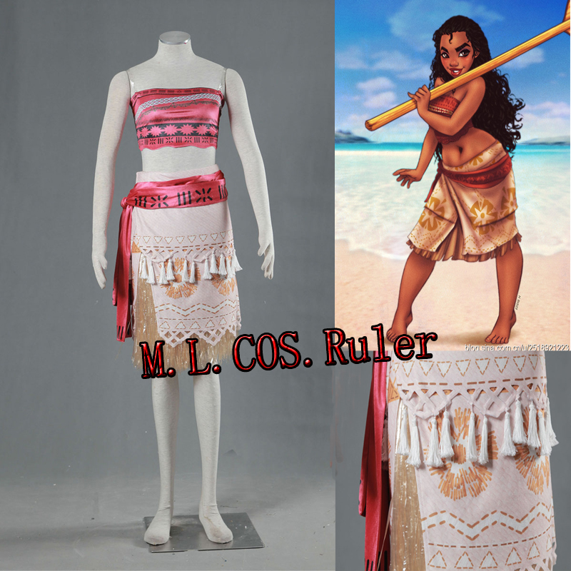 High Quality Moana Princess Cospaly Costume Sandbeach Dress Full Suit Custom