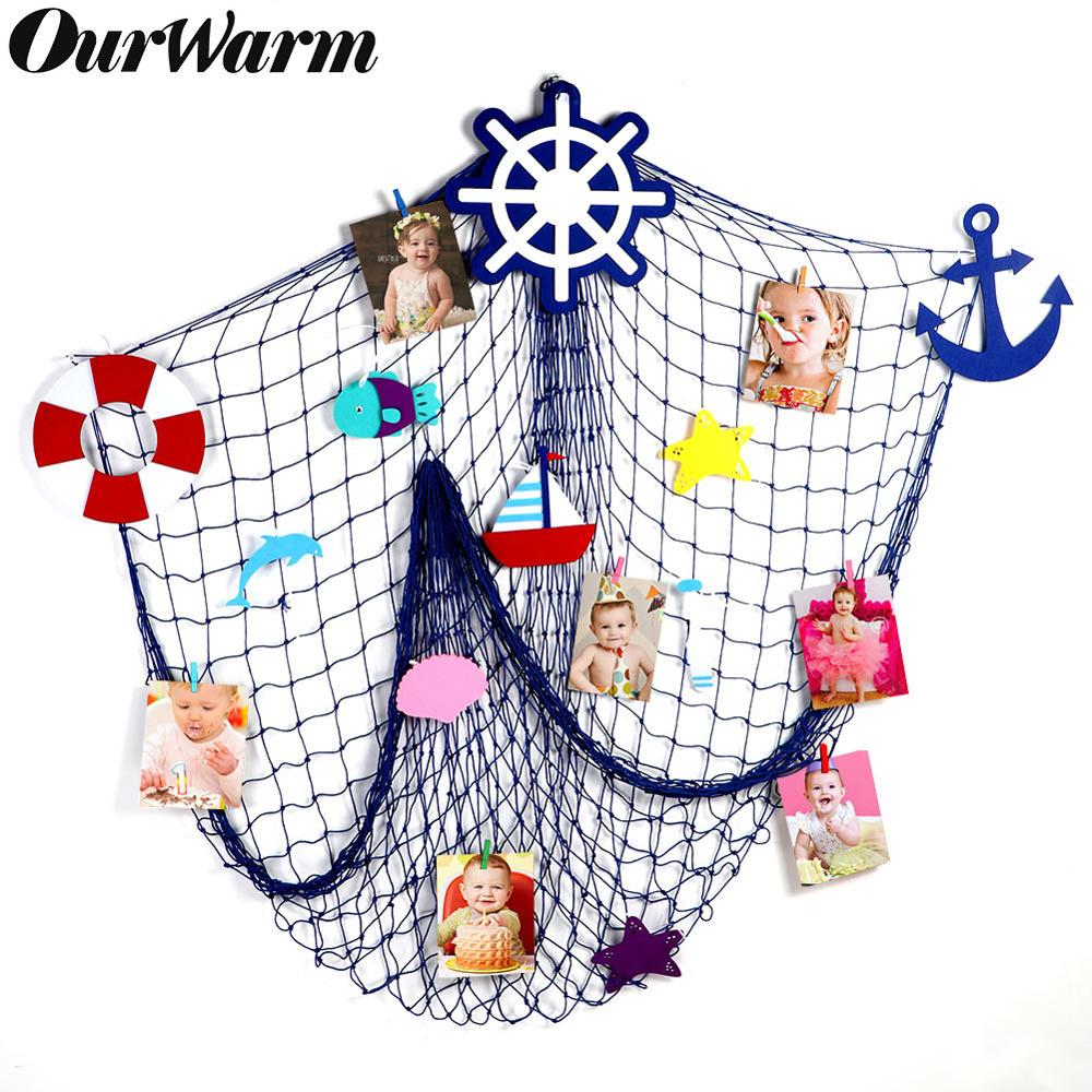 OurWarm Mediterranean Fishing Net Wall Hanging Nautical Home Decor Sea Star Starfish Beach Theme Party Supplies Photo Props
