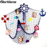 OurWarm Mittelmeer Fischernetz Wand Hängen Nautischen Wohnkultur Sea Star Seestern Strand Thema Party Liefert Foto Requisiten