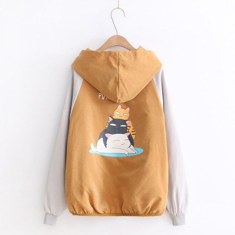 2018 новые весенние свободные шить с капюшоном куртка с длинными рукавами пальто студентка все матч с рисунком кота для девочек пальто на мол...