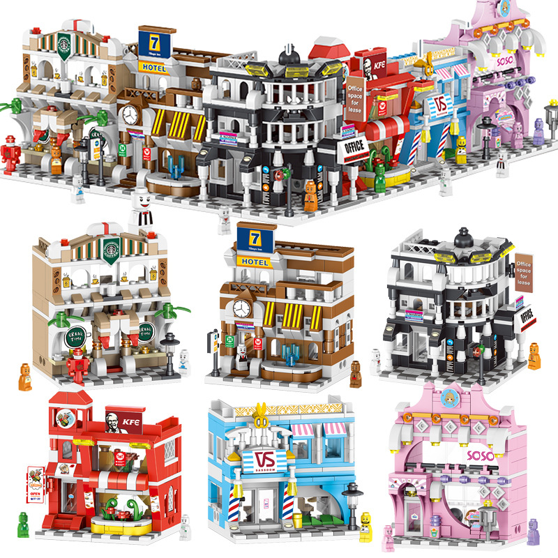Street Model Building Blocks Assemble  Mini Children's Toy Shop Model Toys Set For Birthday Gifts