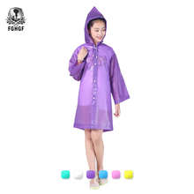 FGHGF Kids Student Hooded Jacket Children Girl Boy Rain Coat Poncho Raincoat Cover Long Transparent Rainwear Waterproof Hooded