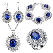 Thick silver jewelry set of chrysanthemum color treasure beautiful foreign trade wholesale colorful stone