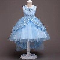 Wysokiej jakości drutu Złota hafty Ślubne Flower Girl Dress Cekinami Przeciągnij piętro Party Sukienka 2017 Letnie Sukienki Księżniczki