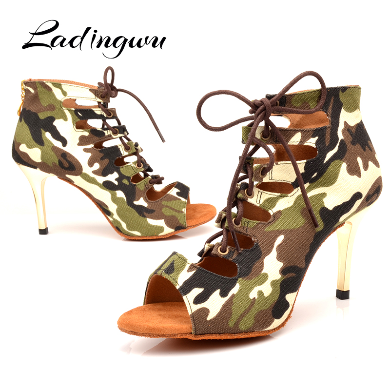 Ladingwu New Brand Latin Dance Shoes Camouflage Canvas Dance Boots Women Soft Bottom Latex Midsole Ballroom Dance Shoes Heel 7.5