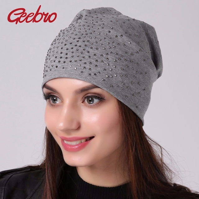 Geebro Brand Women's Rhinestones Slouchy Beanie hat Spring Casual Plain Color Cotton Hat For Women Bonnet Female Skull Beanies