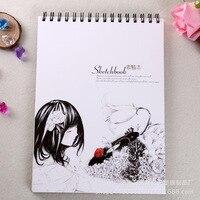 Creativo Lindo Patrón de Dibujos Animados Chica Libro Bobina para Pintura Dibujo Boceto Libro A Libro Móvil A4 Sketchbook Útiles Escolares