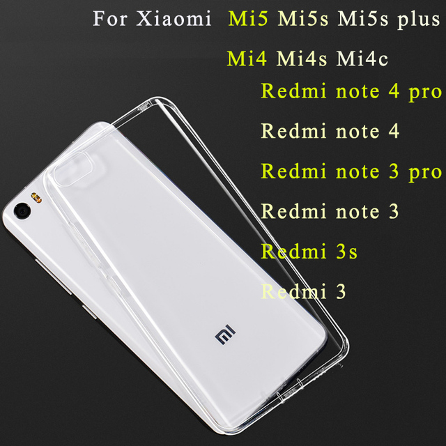 promo code 53ef0 fea44 Gel Case For Xiaomi mi5 5s 4i mi4c mi5s plus redmi note 4 Silicone Case  Xaomi Redmi 3s note 3 4 pro Transparent Phone Back Cover