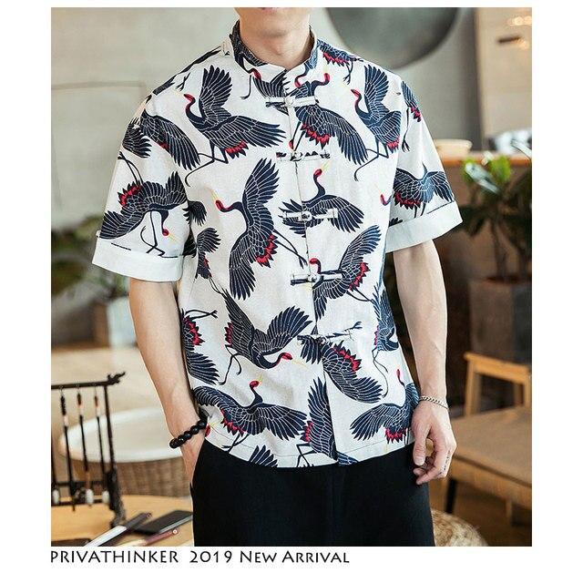 5cfb33381 Privathinker hombres Casual Harajuku 2019 camisetas para hombre de algodón  verano ropa Vintage Crane camiseta moda camisa Slim Fit