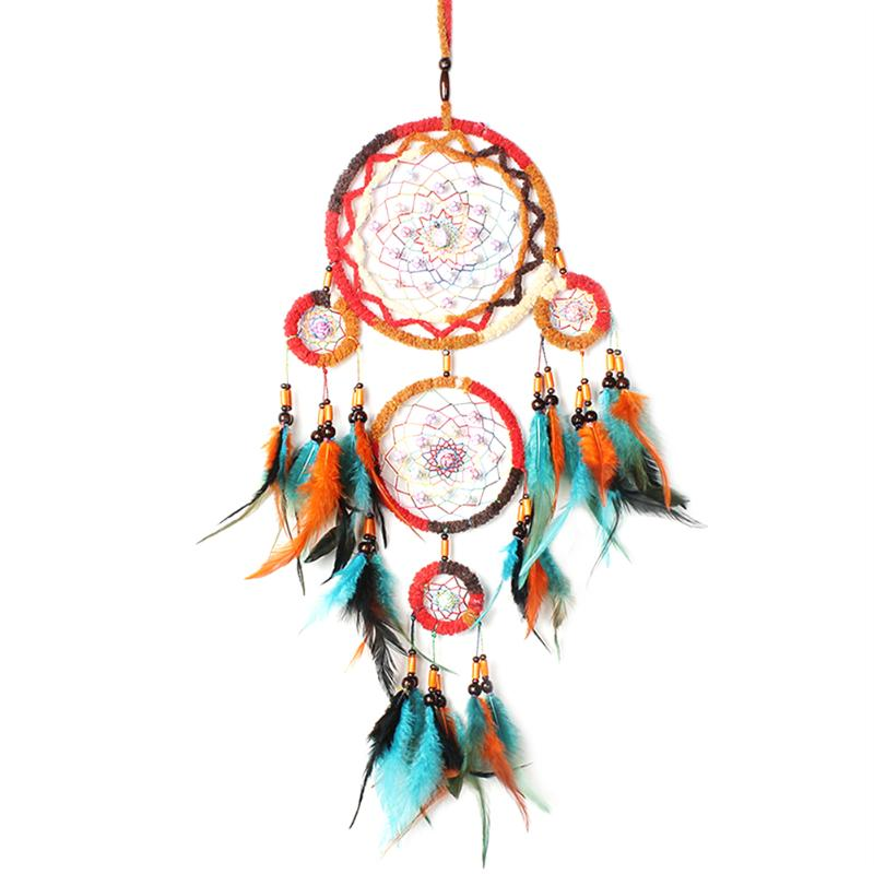 Colorful Handmade Big Dream Catcher with Feather Wall Hangings Living Room Decorative Ornament Craft Dreamcatcher Gift