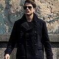 AK CLUB Marca Chaqueta de Lana 2016 Más El Tamaño de Abrigo de Invierno Informal Outwear Hombres de la Capa de Mezcla De Lana Azul Marino de Lana Abrigo Chaqueta de Los Hombres 1541043