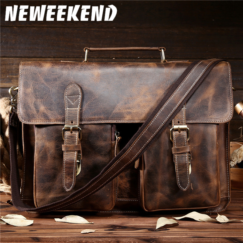 NEWEEKEND Retro Cowhide Leather Crazy Horse 14 / 15,6 Tommers Crossbody Handbag Laptop Veske Veske til Mannlig Mann Menn Portefølje 1061
