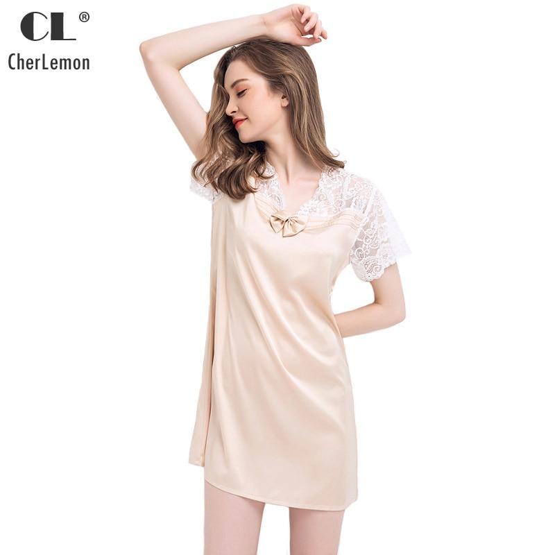 CherLemon Lace Satin Nightgown Womens Summer Short-Sleeved V Neck Mid  Length Nightshirt Female Loose Loungewear Sexy Nighty 575c7b527