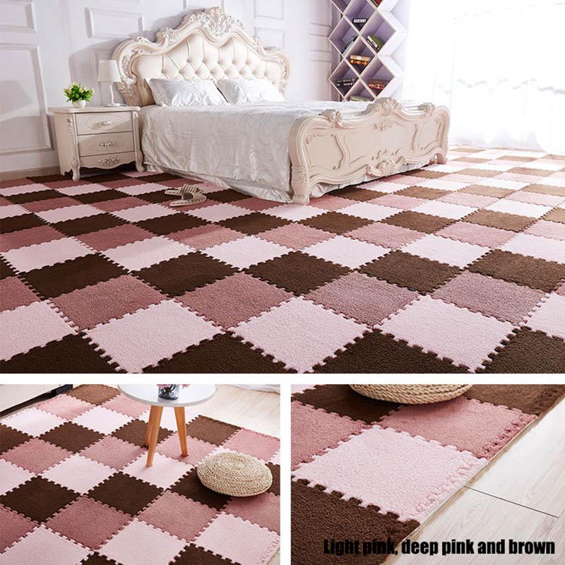 10Pcs/1Set 30*30*1cm EVA Plush Puzzle play mats Foam Shaggy Velvet Carpet Decorative Kids Room for Crawling Play Toys 9-Colors