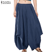 New ZANZEA Wide Legs Harem Solid Women Summer Elastic Mid Waist Casual Loose Pants Cotton Long