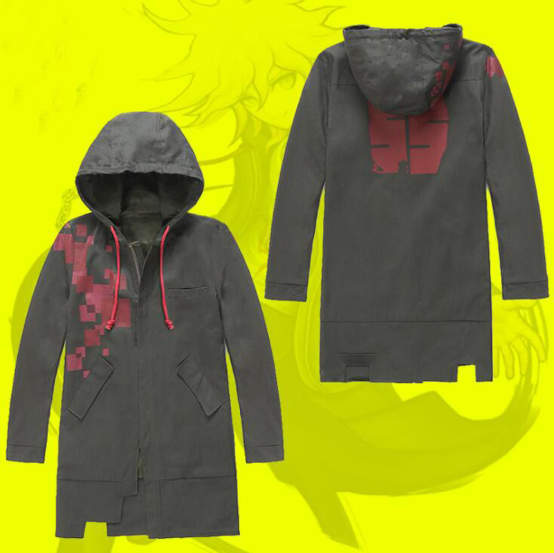 Anime Super Dangan Ronpa DanganRonpa Monokuma Nagito Komaeda Cosplay Costume Hooded Jacket Trench Coat