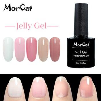 MorCat Nail Gel Polish Jelly Transparent White Pink Color for Art Design UV Semi Vernis Permanent