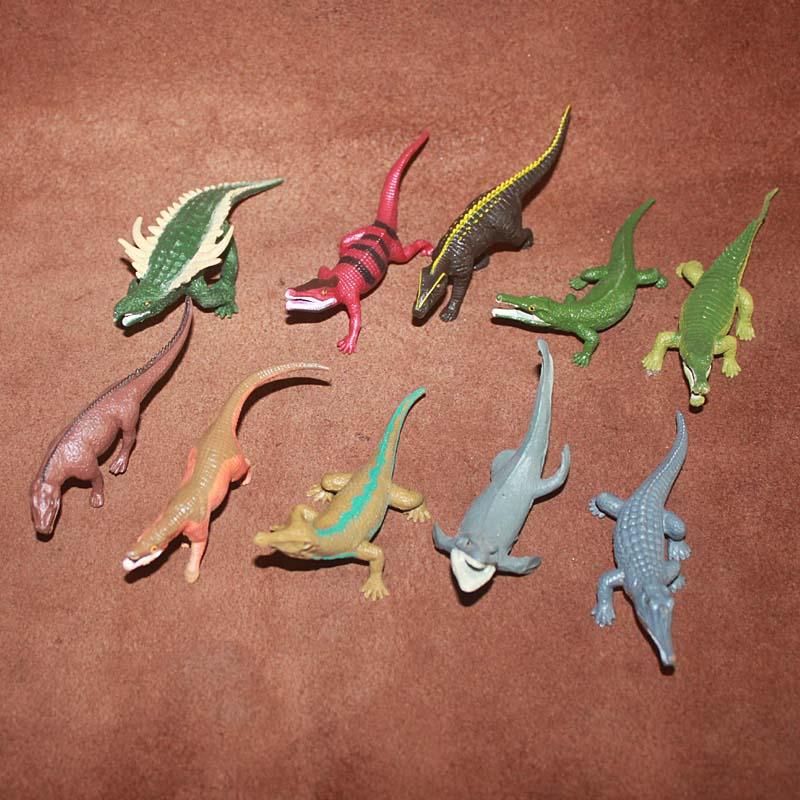 Simulation Animal Model ToyTriassic Prehistoric Crocodilescene Ornaments Lizard Crocodile Early Childhood Teaching Aids10pcs/set
