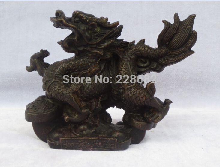 Chinese Old Copper/bronze Carved Ingot Dragon Sculpture/ Dragon Statue 003