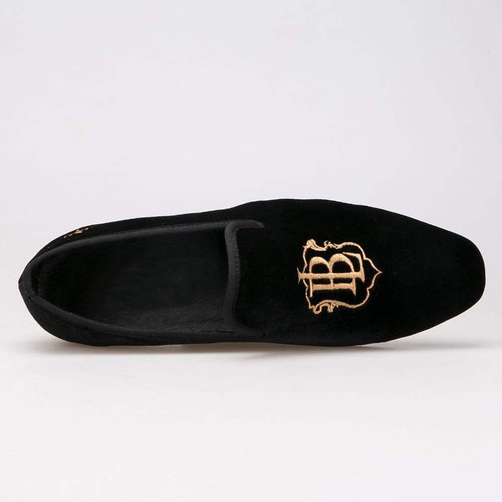 Gold Männer Schwarzes Hochzeit Und Mode Handgemachte Stil Stickerei Schuhe Müßiggänger Samt Partei Herren RCOtRwfq