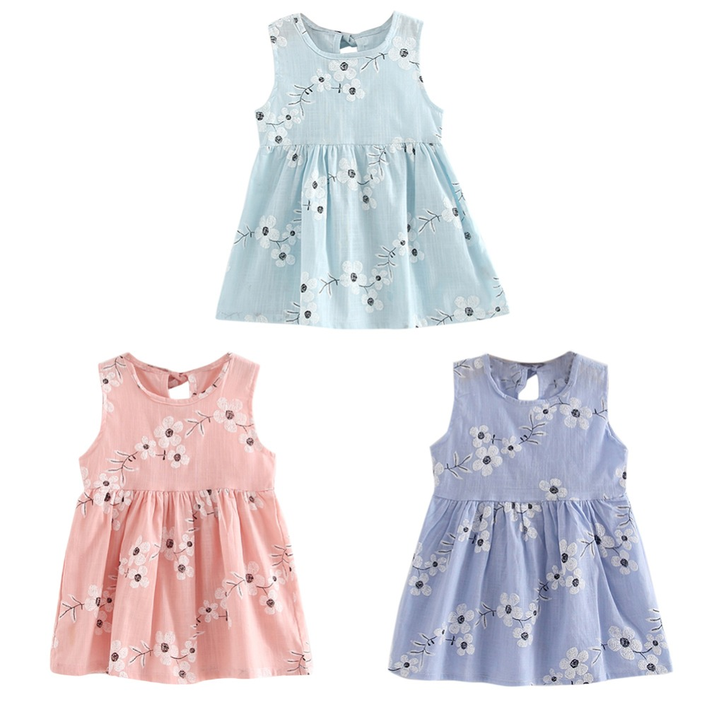 Brief Blue Pink Purple Princess A Line Dress Kids Girls Sleeveless Morning Glory Print Soft Cotton and Linen Dress коляска esspero summer line light purple sl010a 108068275