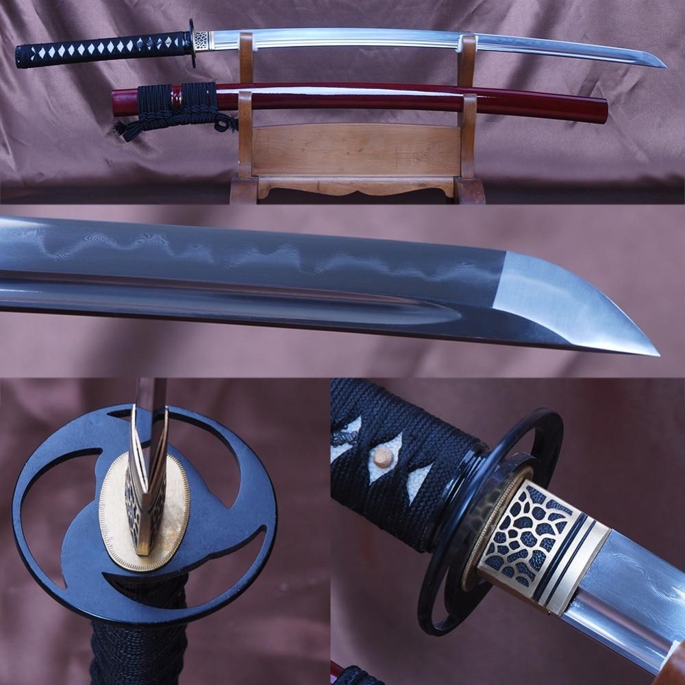 Shijian Swords Pleine Saveur Formation Samurai Sword Plié En Acier Trempé Clay Sharp Combat Japonais Sword Long Couteau Présent