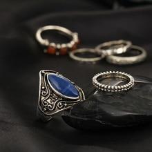 New Fashion 6pcs/Set Midi Ring Sets Boho Beach Vintage Tibetan Silver Color