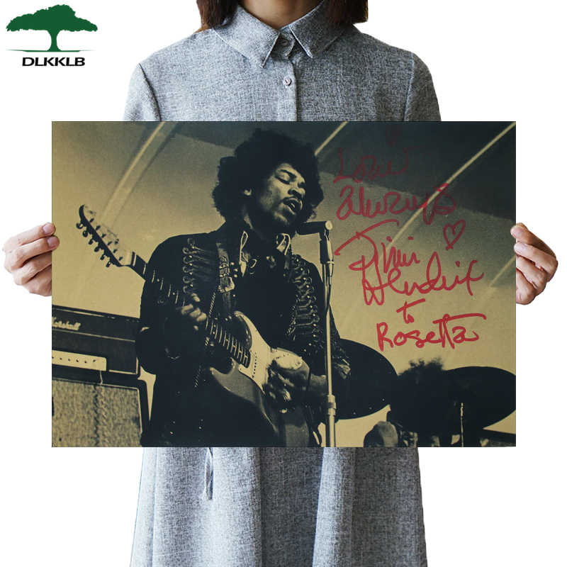 "DLKKLB Electric Guitar God Jimi"" Hendrix Poster Rock Music Vintage Poster Bar Cafe Home Decoration Painting Art Wall Stickers"