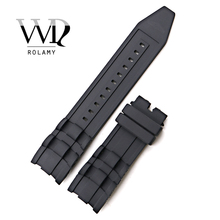 Rolamy 26mm Wholesale Black Waterproof High Quality Silicone Rubber Replacement Watch Band Belt Strap все цены