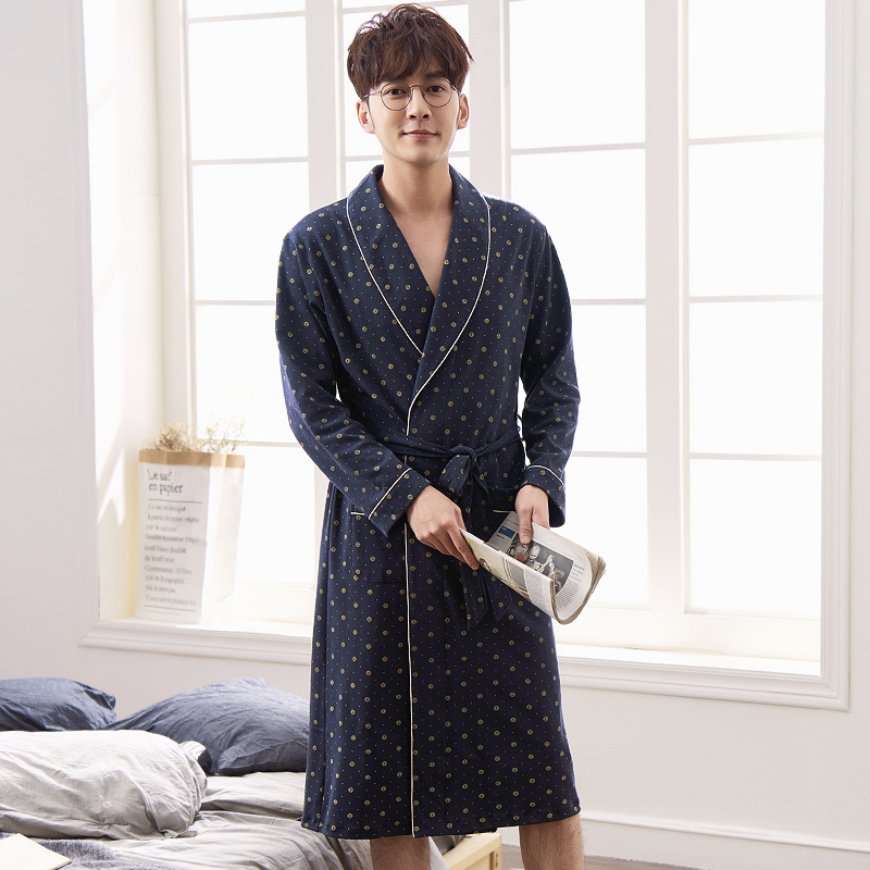New Nightgown Men's Cotton Bathrobes Youth Men's Plus Size Sleepwear Robe Male Bathrobe High Quality Brand Cotton Kimono For Men