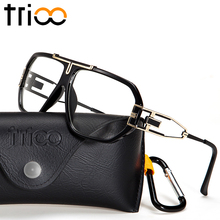 TRIOO New Black Mens Eyeglasses Accessories Clear Lens Square Glasses Frame Optical Male Cool Spectacle Frame 2017 Fashion New