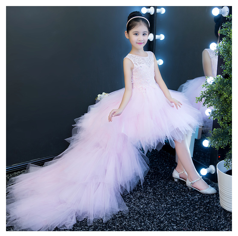 Long Trailing Princess Girl Wedding Dress Lace Long Kids Girl Dress For Girl Piano Performance Birthday Party Flower Girl Dress baby girl red children s dress princess dress long sleeve birthday flower girl dress girl piano host costume long winter