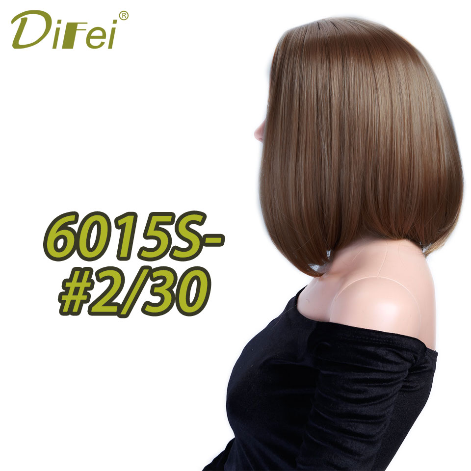 DIFEI medium straight hair Synthetic Black blond 12 2 color cosplay bob wig Heat Resistant women peruca ...