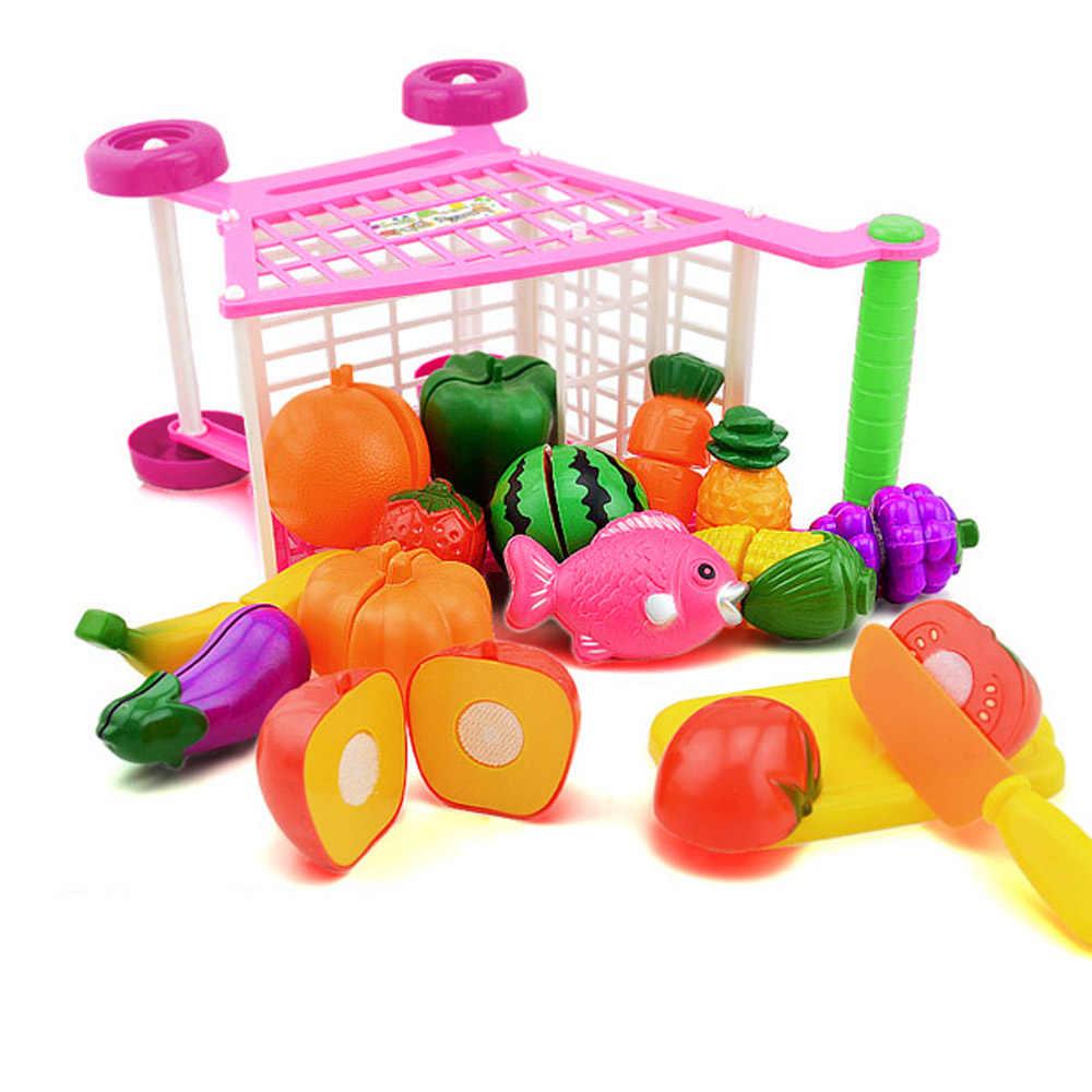 Anak-anak Mini Supermarket Trolley Belanja Mainan Mall Plastik Berpura-pura Bermain House Mainan untuk Anak Anak Natal Hadiah Ulang Tahun