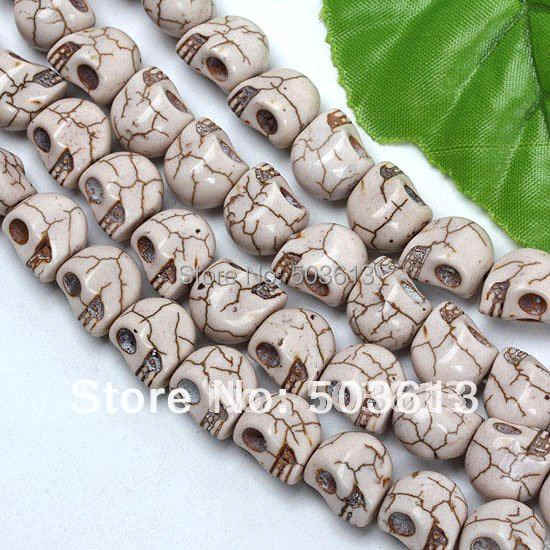 Wholesale 10x12mm White Howlite stone Carved Skull Loose Beads tb1010