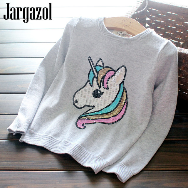 a3acdeb05d05 Jargazol Baby Girls Sweater Unicorn Party Cartoon Horse Sequins 2018 ...