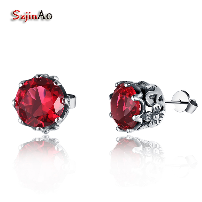 Szjinao Bridal-Earring Ruby 925-Sterling-Silver jewelry Red Austrian Women for Pure Fashion
